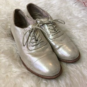 Silver lace up oxfords